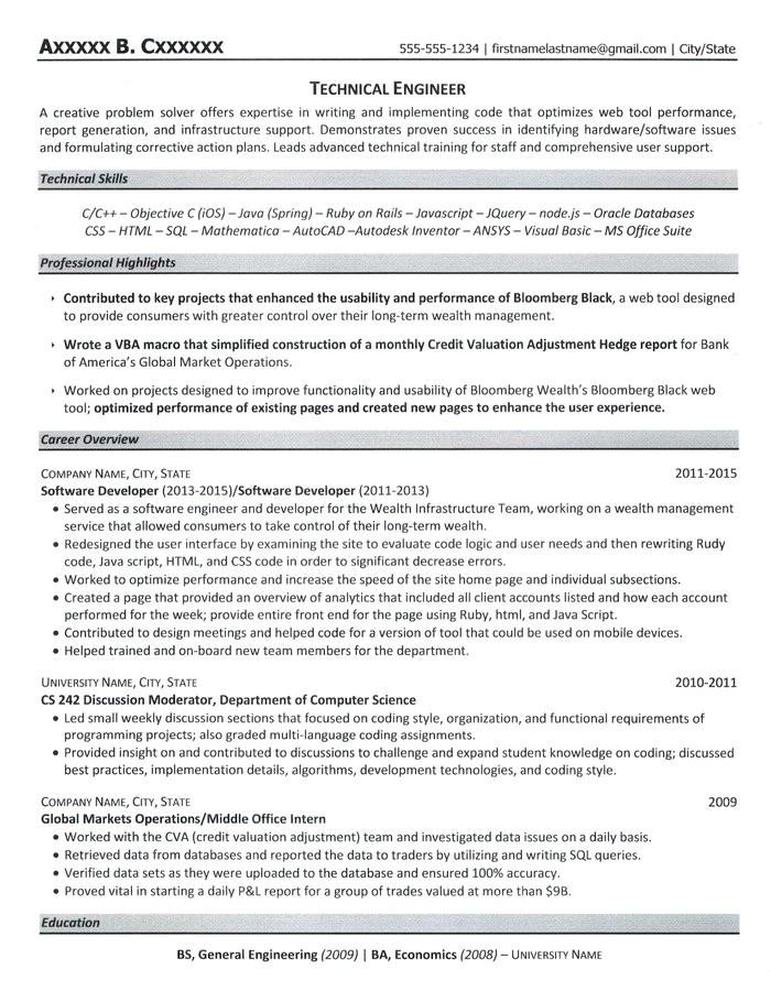 Engineer Resume Content Technical Engineer Resume