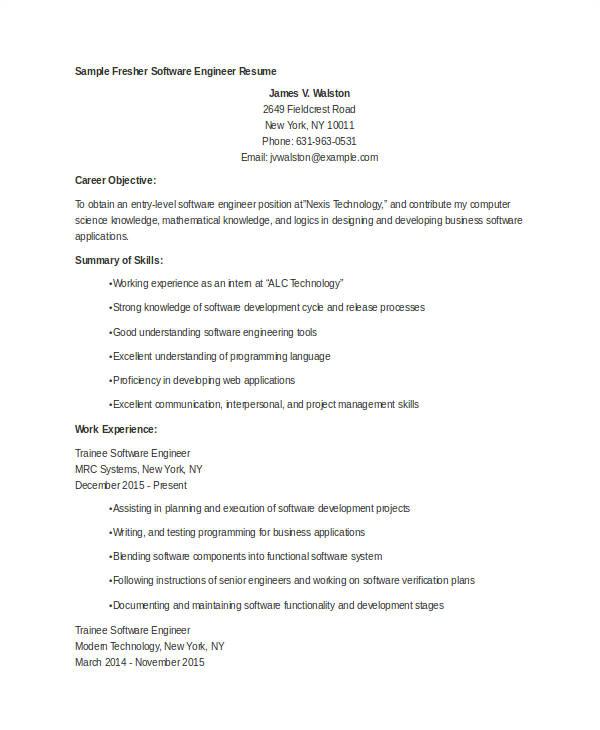 Engineer Resume for Freshers 12 Fresher Engineer Resume Templates Pdf Doc Free