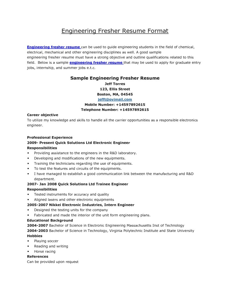 resume formats for fresher engineer