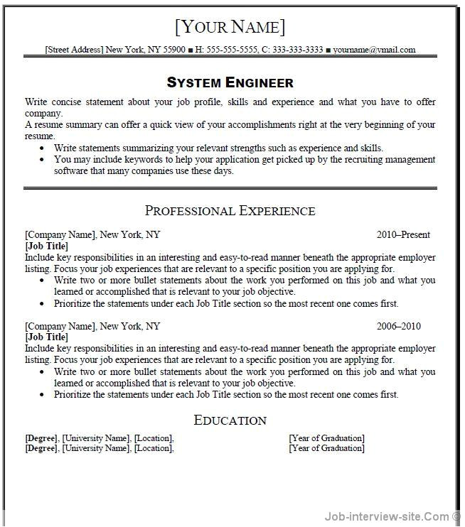 Engineer Resume Headline Free 40 top Professional Resume Templates