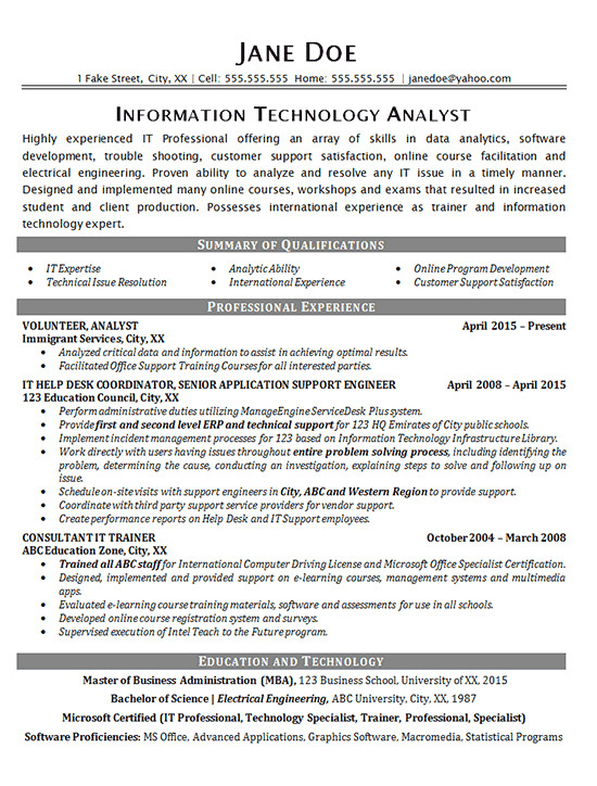 Engineer Resume Help It Help Desk Resume Example Technical Analyst It Support