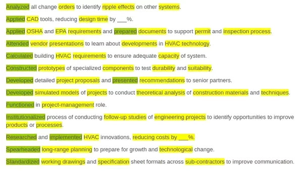 what are the best resume key words for mechanical engineer