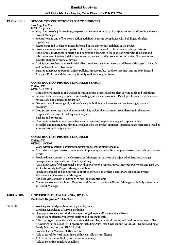 engineer resume project list  williamsonga