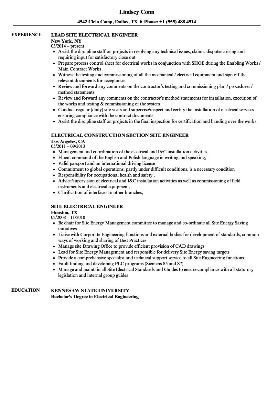 electrical site engineer resume sample