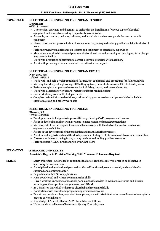 electrical engineering technician resume sample