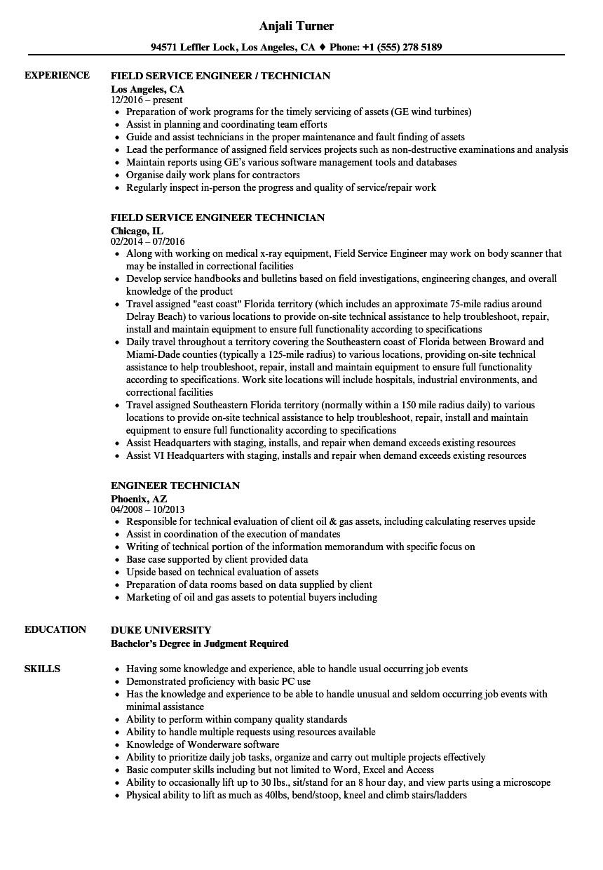 engineer technician resume sample