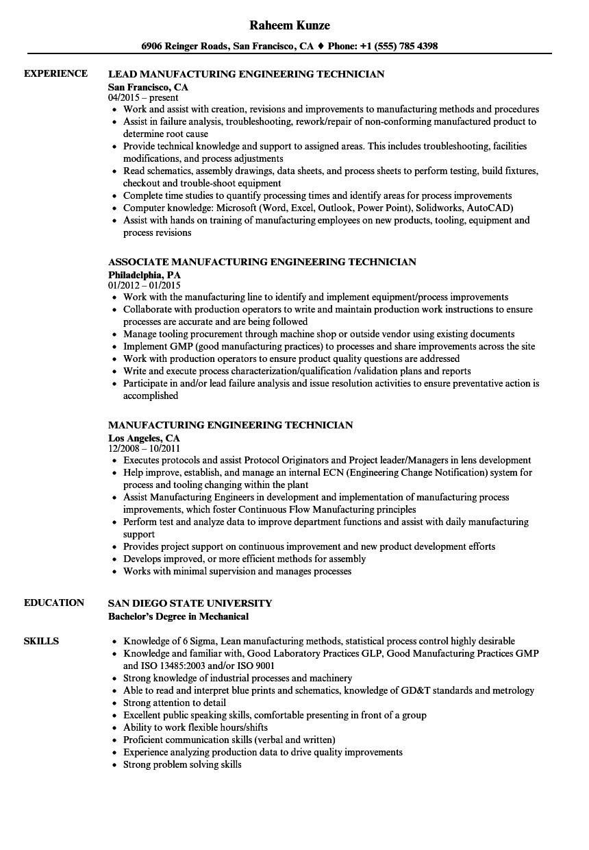 manufacturing engineering technician resume sample