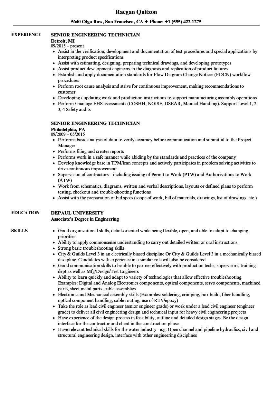 senior engineering technician resume sample