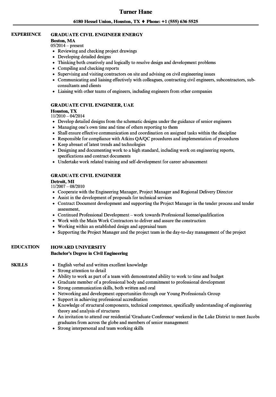 graduate civil engineer resume sample
