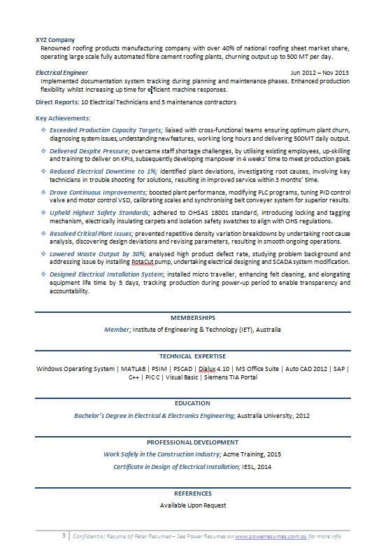 Engineering Resume Australia Engineering Resume Example Power Resumes Australia