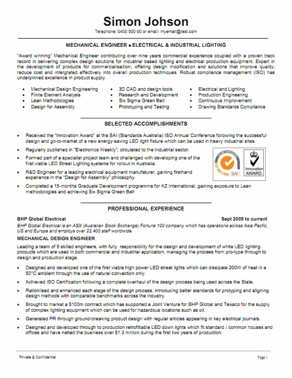 example resume template mechanical engineer resume 2