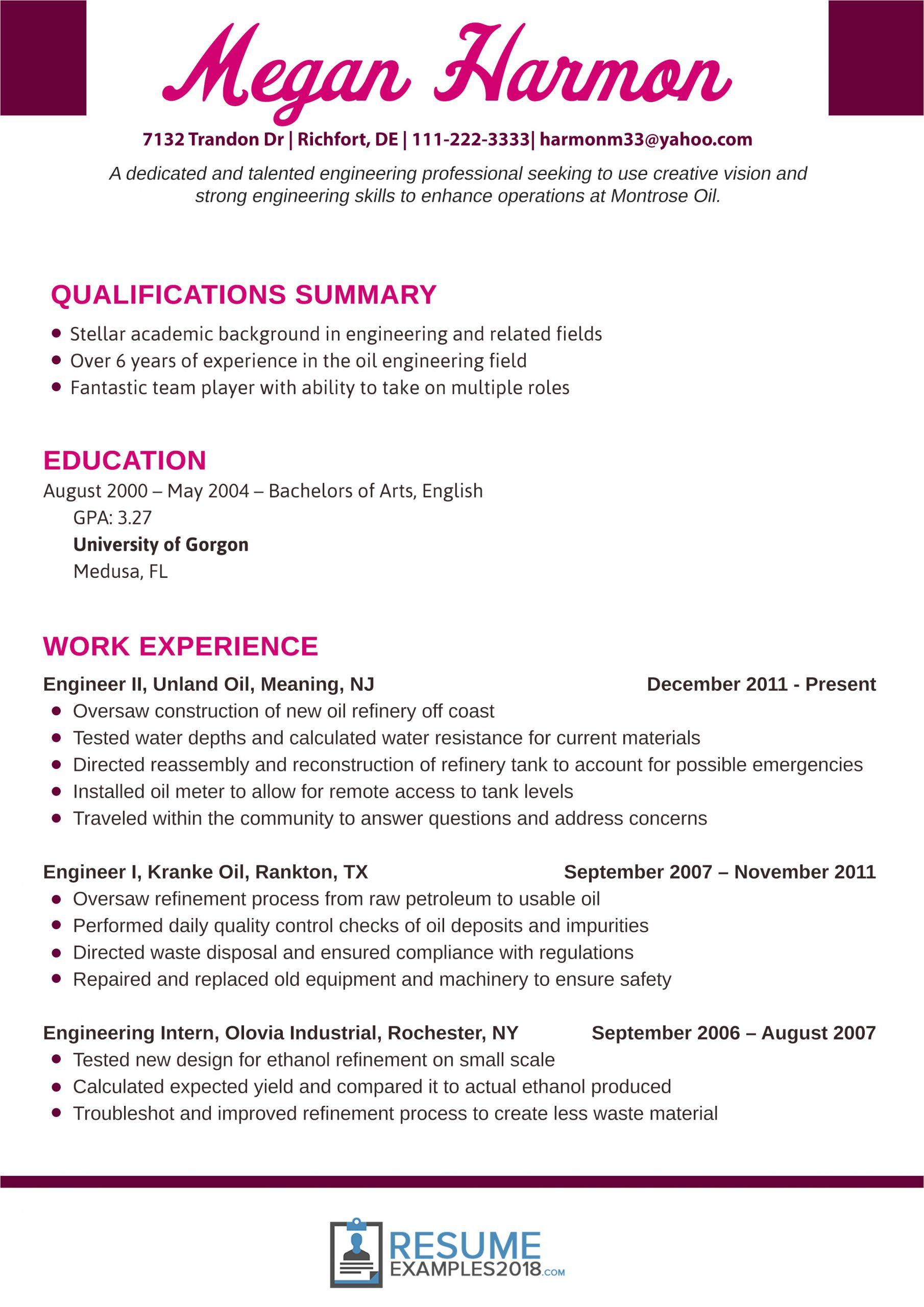engineering resume examples 2018