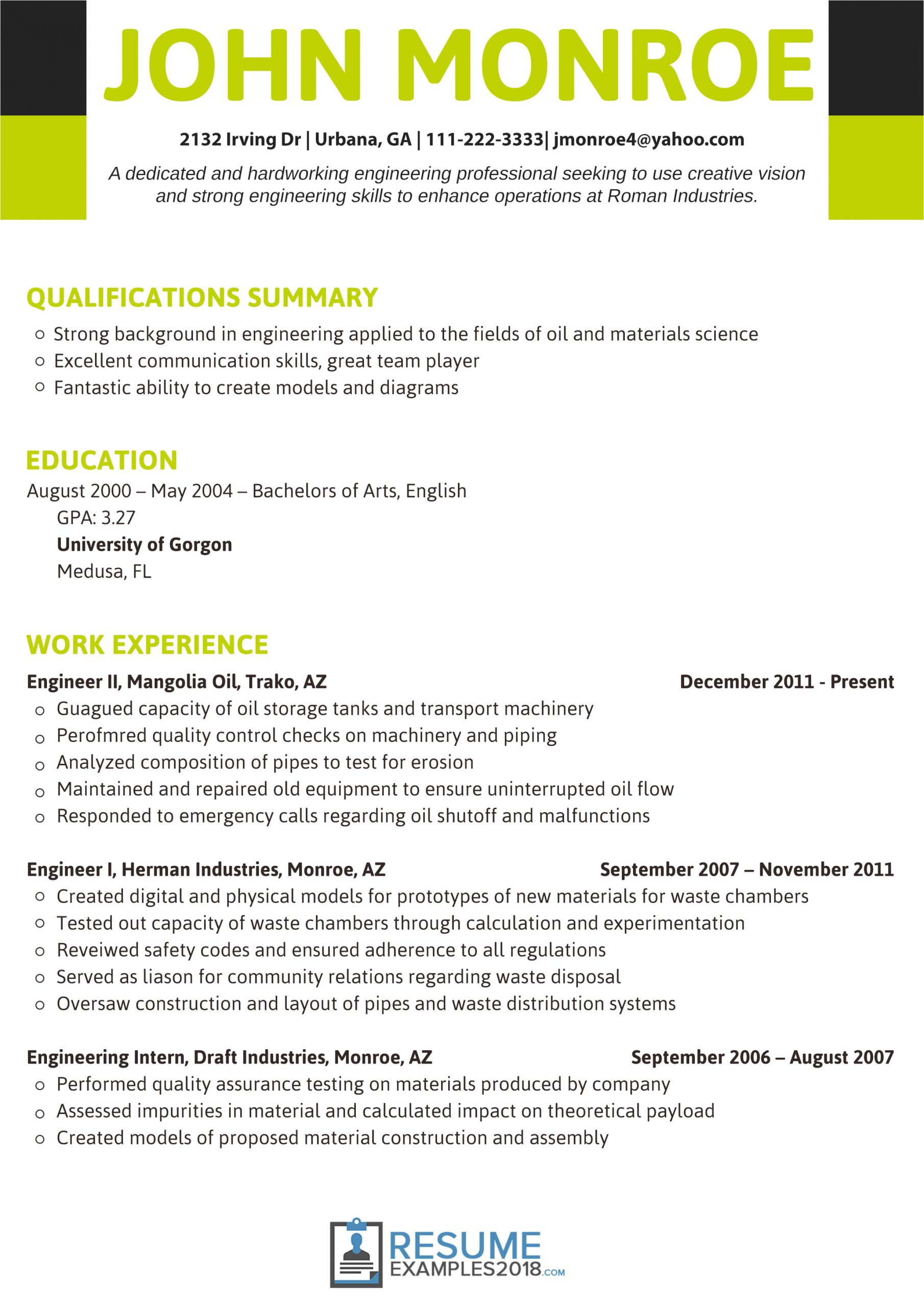 Engineering Resume Examples 2018 Best Engineering Resume Examples 2019 that Land You A Job