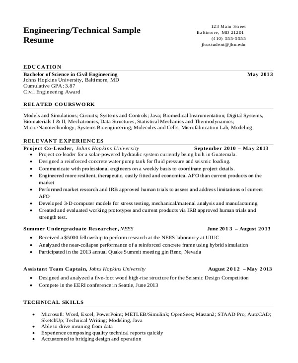 Engineering Resume format Pdf 17 Engineering Resume Templates Pdf Doc Free