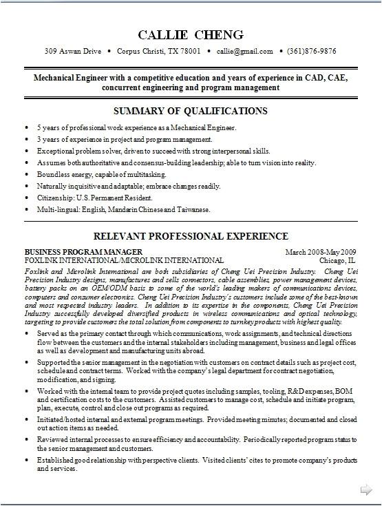 Engineering Resume Model Mechanical Engineer Resume Model In Word format Free Download