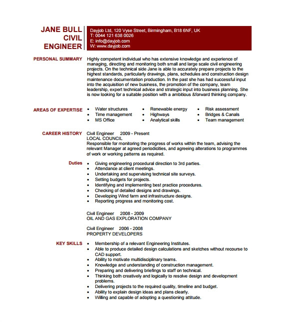 Engineering Resume Pdf 19 Civil Engineer Resume Templates Pdf Doc Free