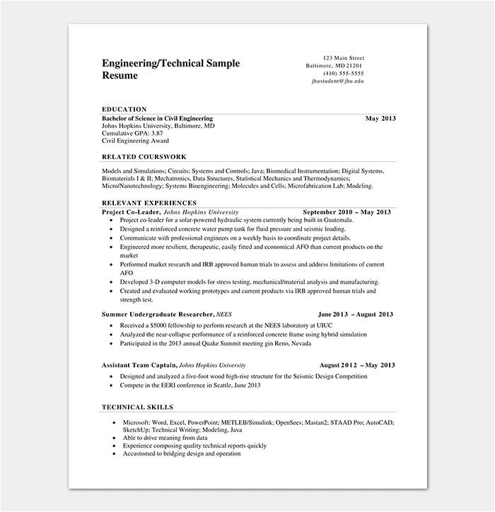 Engineering Resume Templates Word Engineering Resume Template 20 Examples for Word Pdf