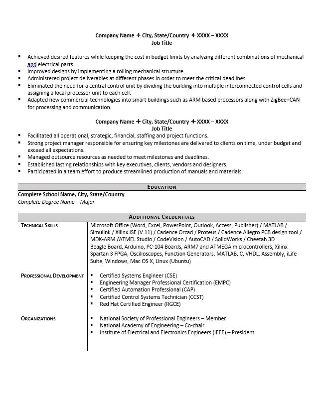 engineering resume example and tips
