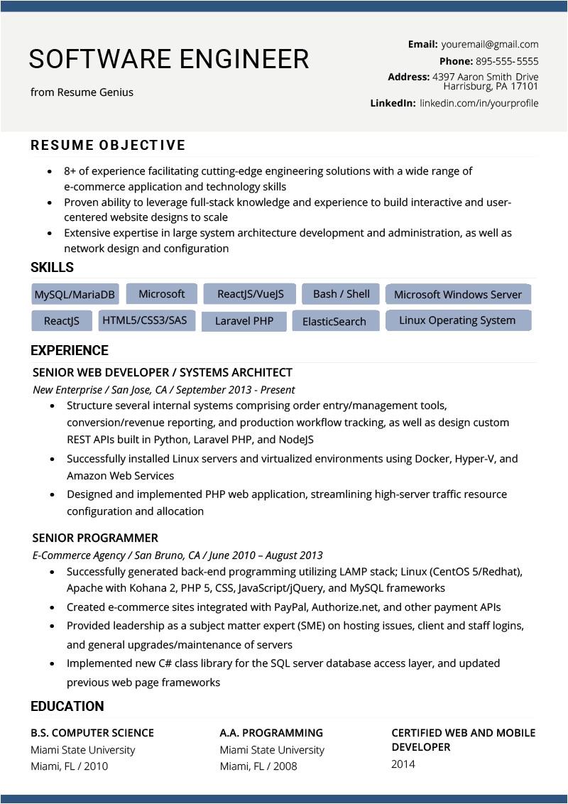 Engineering Resume Tips software Engineer Resume Example Writing Tips Resume