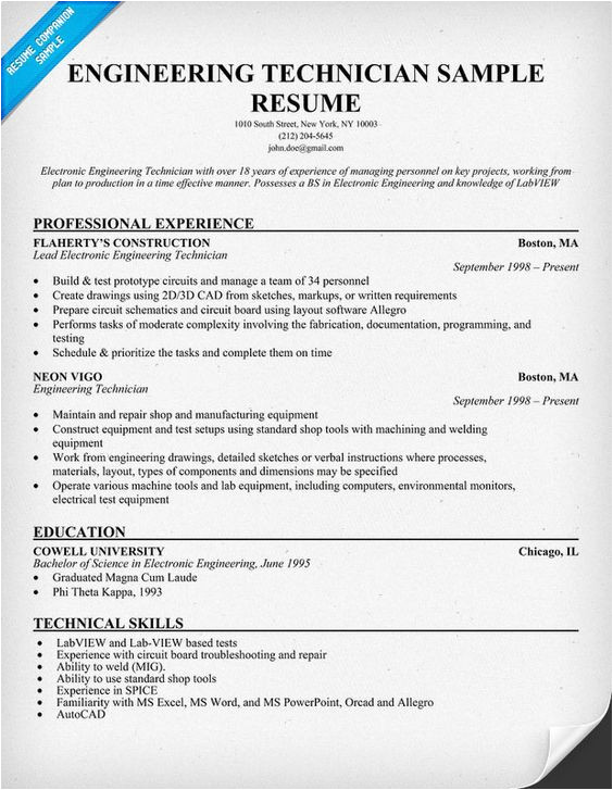 Engineering Technician Resume Resume Examples Resume and Sample Resume On Pinterest