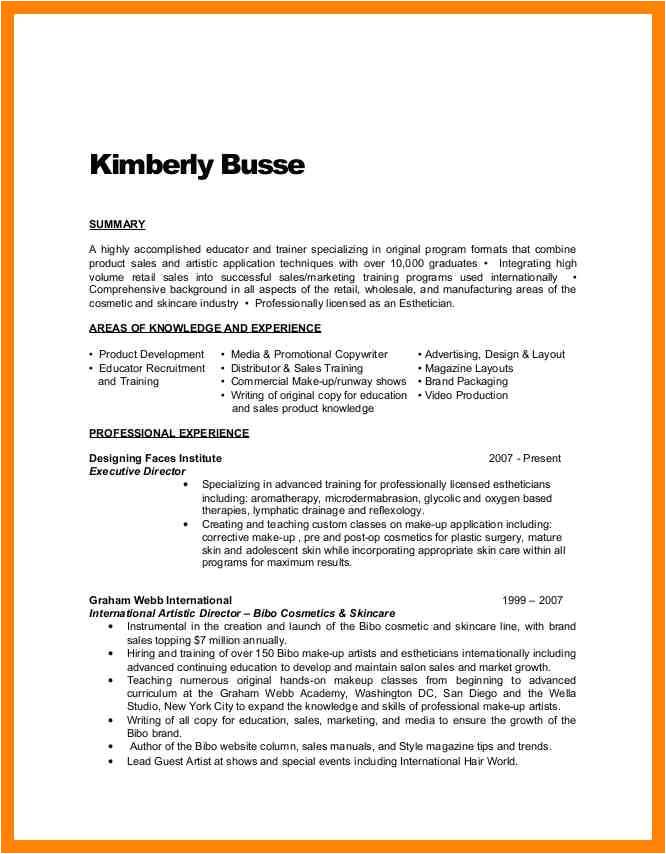 9 esthetician resume example