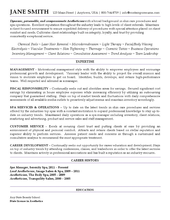 aestetician resume