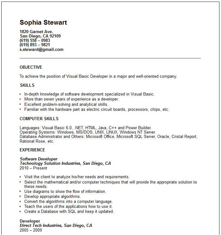 category resume