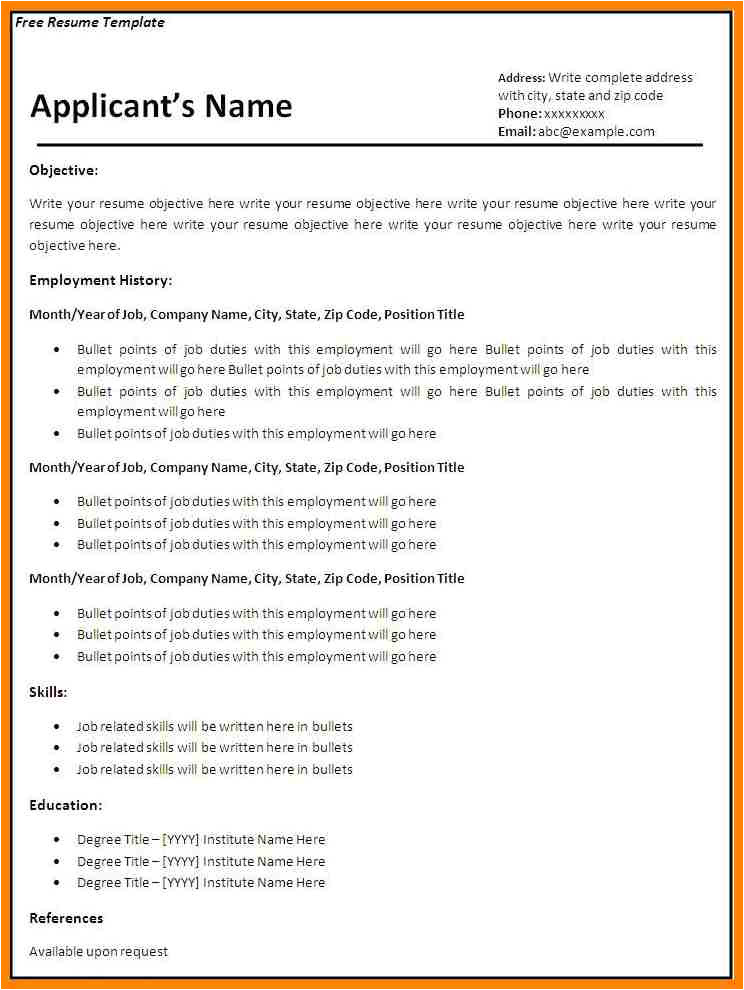 Example Of Blank Applicant Resume 5 Example Of Blank Applicant Resume Cains Cause