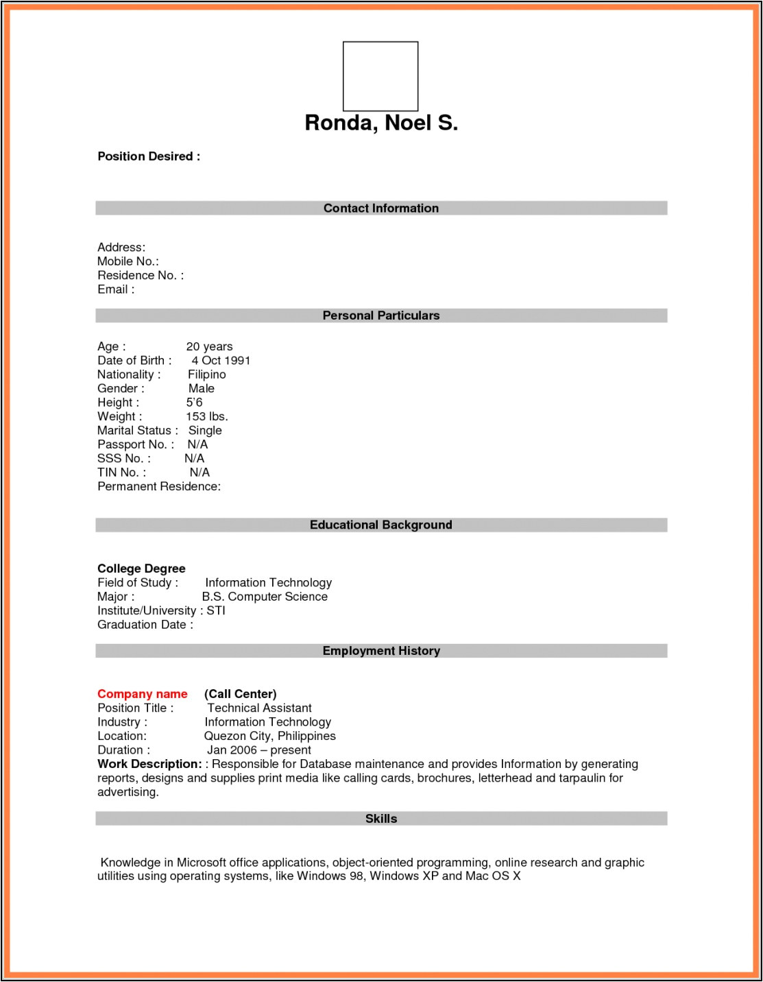 blank resume form for job application