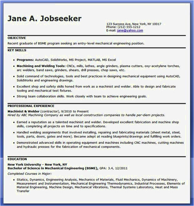 experienced mechanical engineer resume