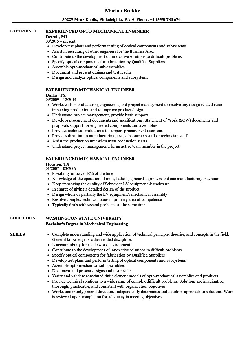 Experienced Mechanical Engineer Resume Experienced Mechanical Engineer Resume Samples Velvet Jobs