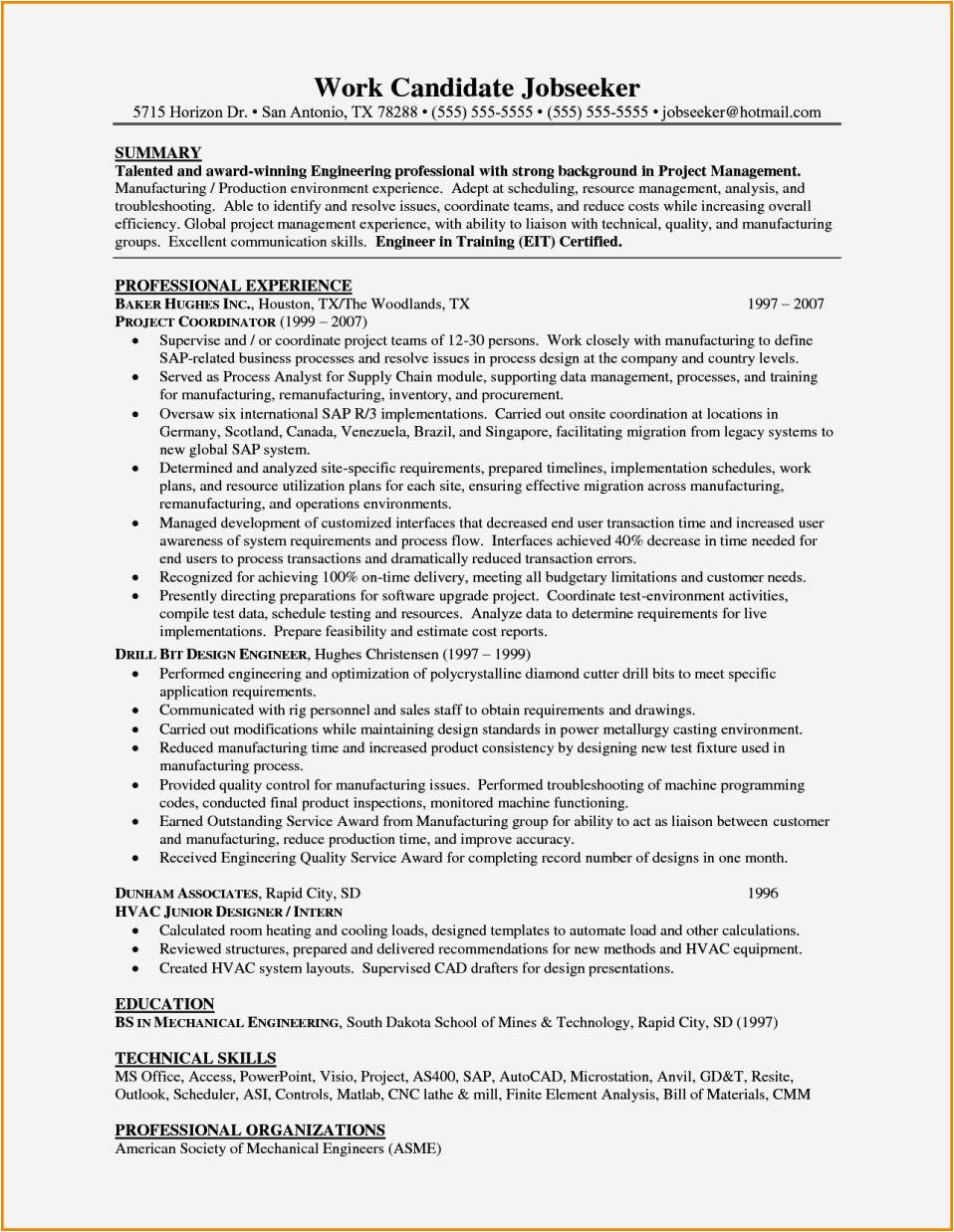 experienced mechanical engineer resume