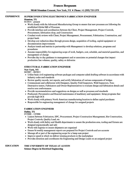 Fabrication Engineer Resume Fabrication Engineer Resume Samples Velvet Jobs