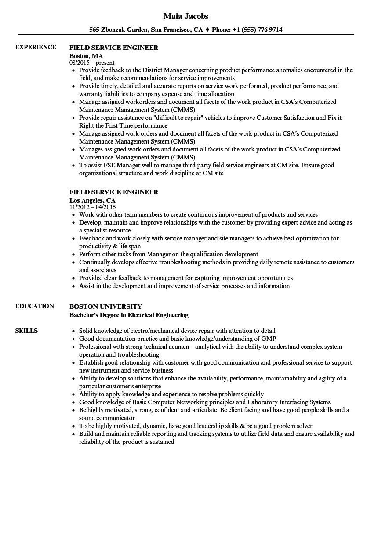 Field Service Engineer Resume Field Service Engineer Resume Samples Velvet Jobs