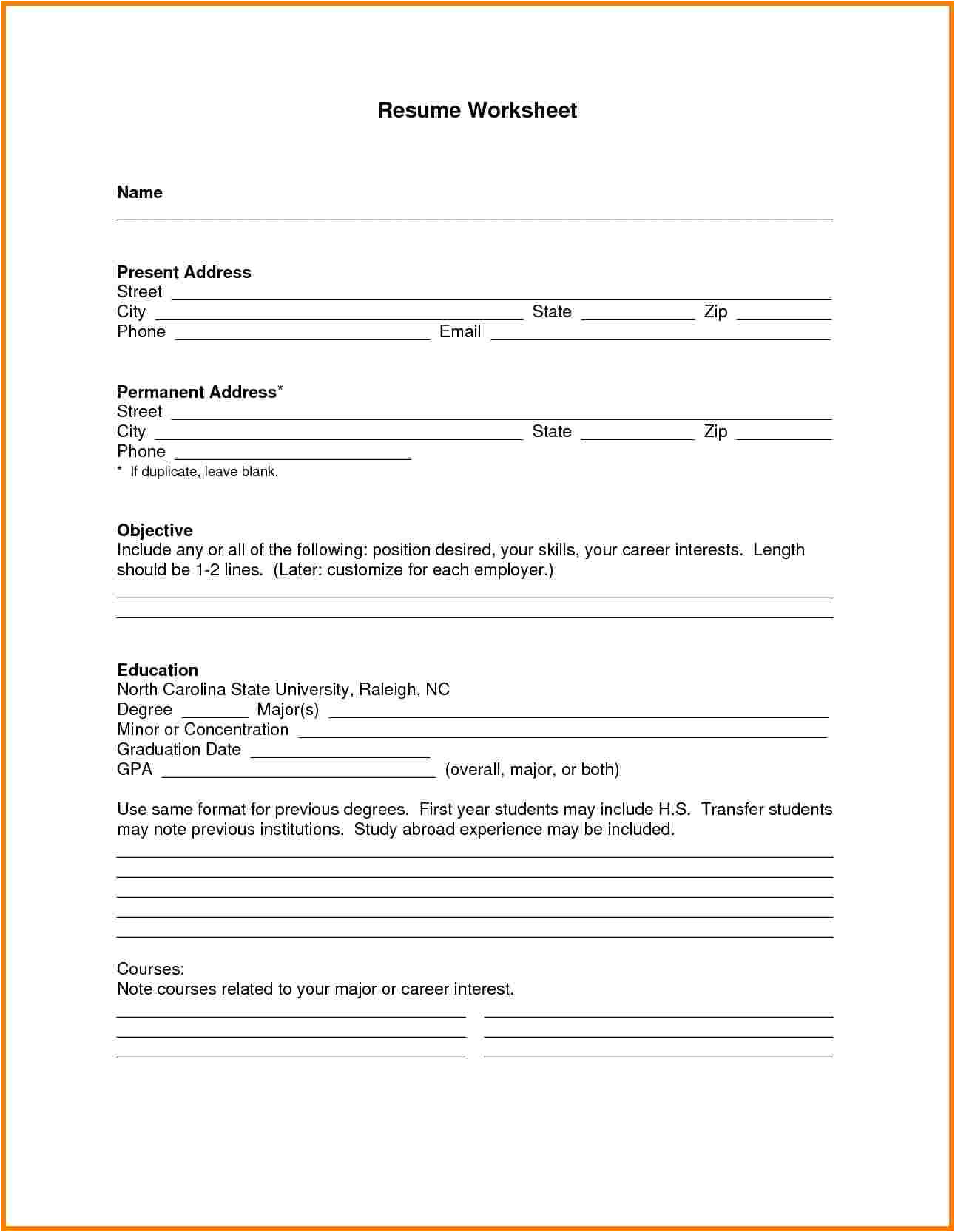8 free fill in the blanks resume