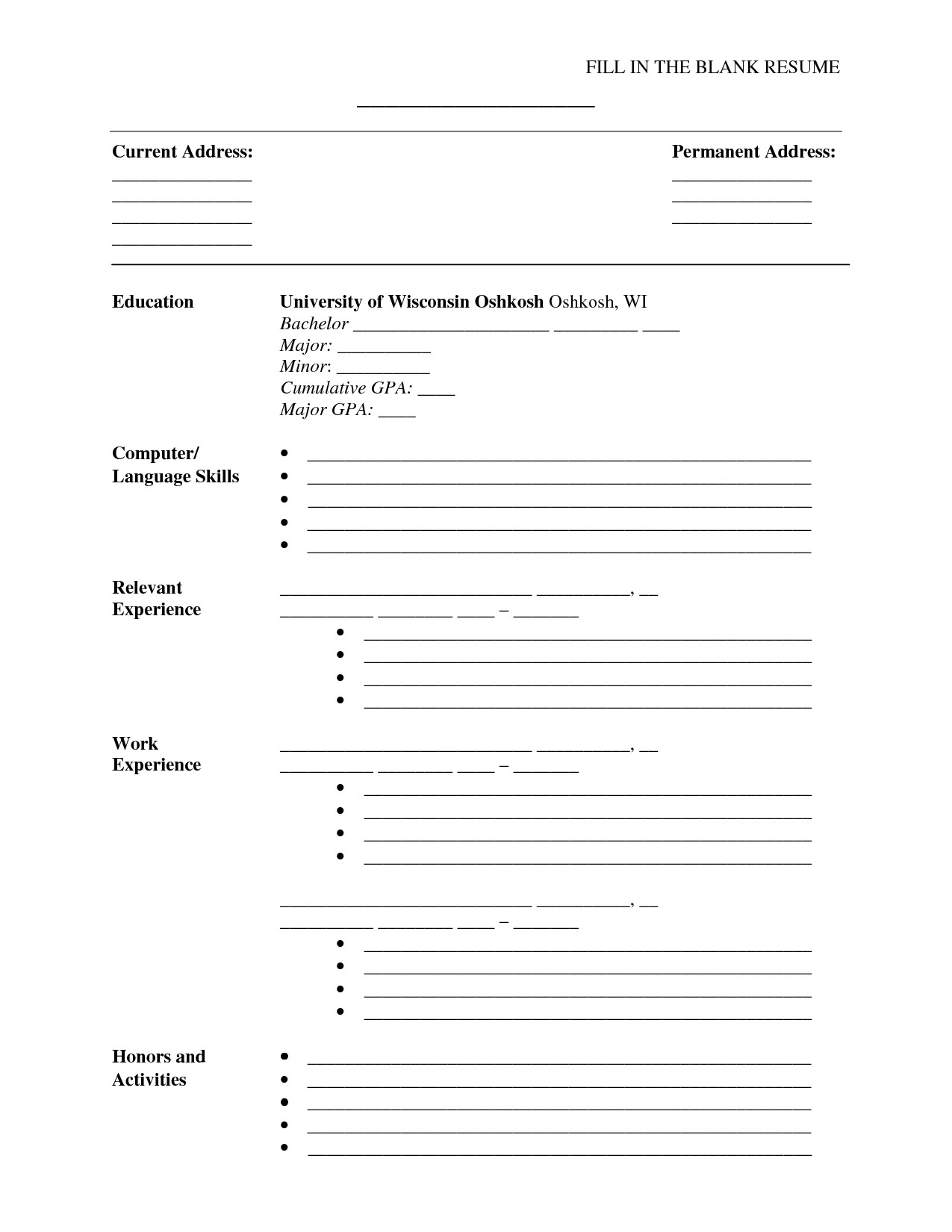 Fill In the Blank Resume for Students Fill In the Blank Resume Pdf Http Www Resumecareer