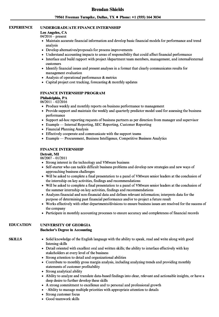 finance internship resume sample