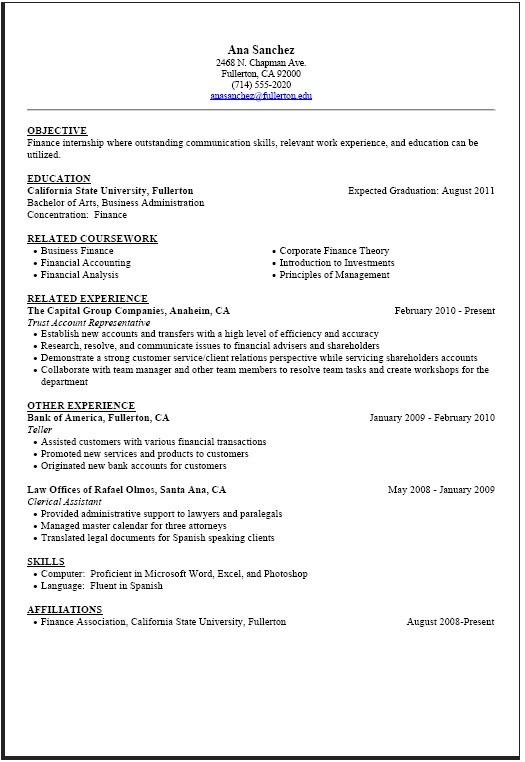 finance internship resume template