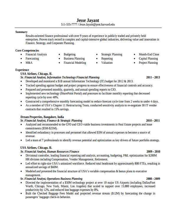 finance resume template
