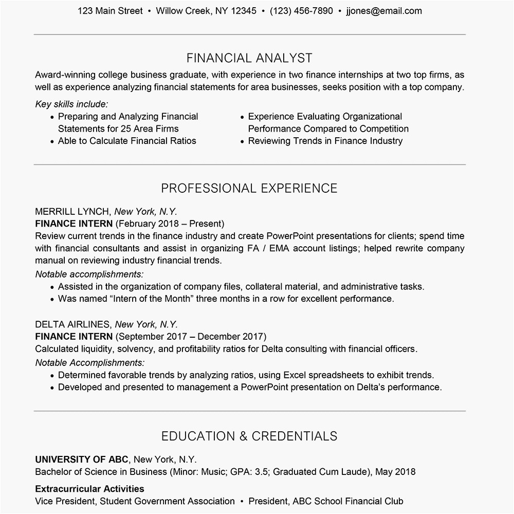 sample resume for a finance internship application 1987059