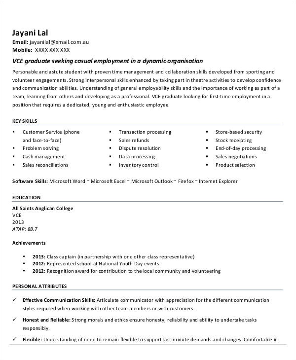 first resume template