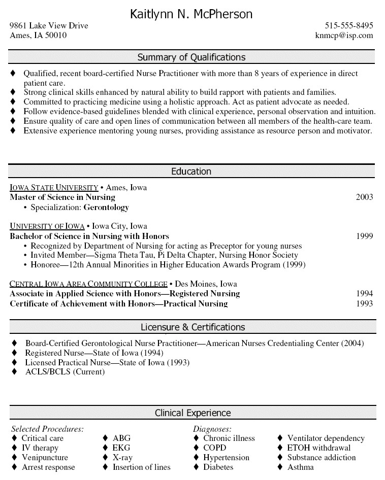 nurse practitioner resume samples