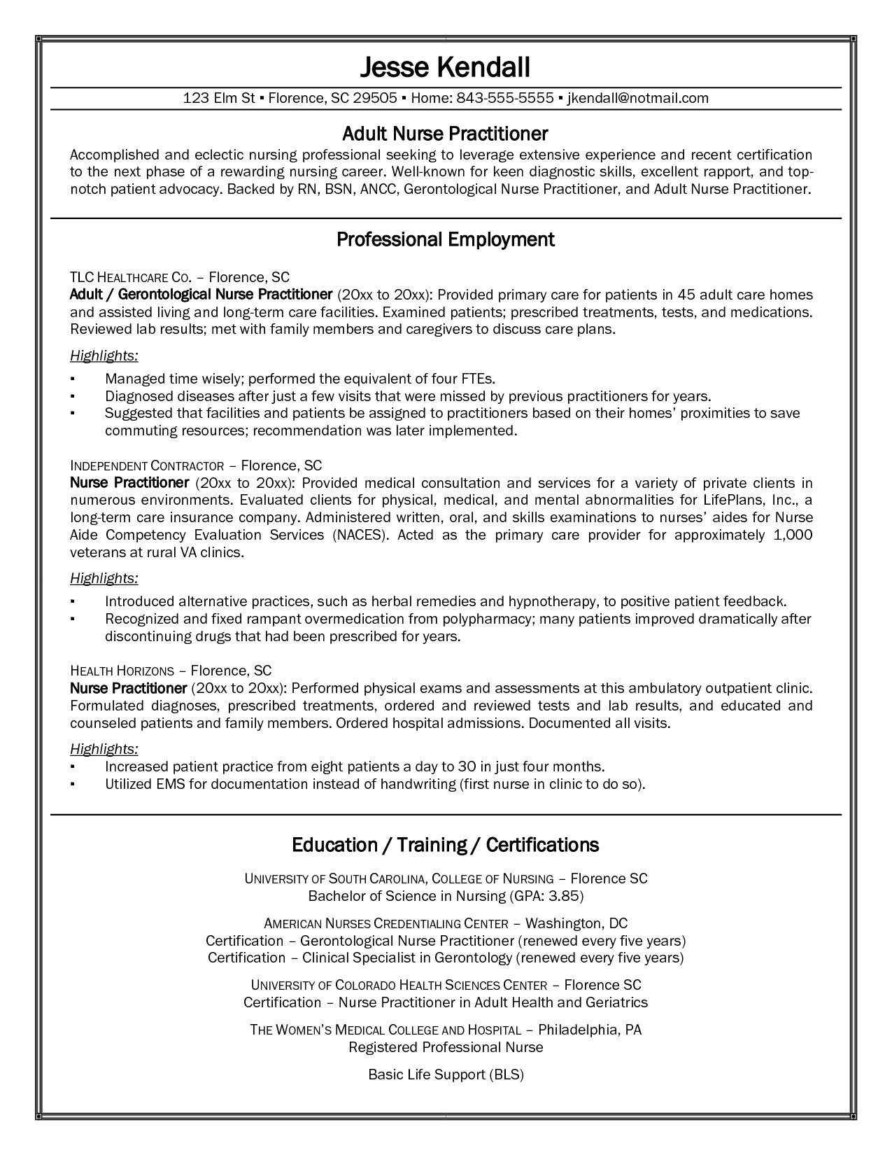 Fnp Student Resume Student Example Nurse Practitioner Sample Resume This Free