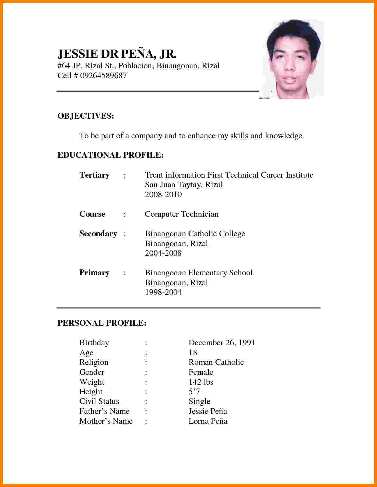 Format Of Resume for Job Application to Download 11 Cv formats Samples for Job theorynpractice