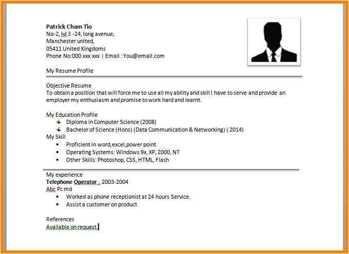 8 easy resume format sample