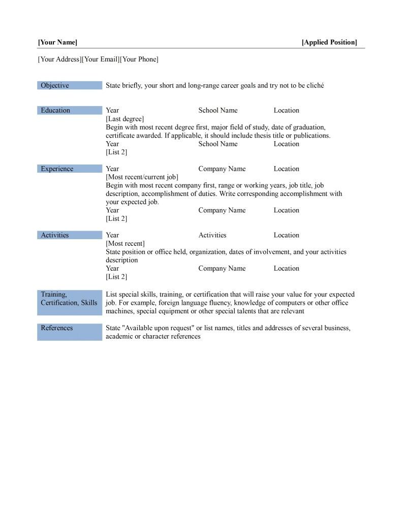 Free Basic Resume Templates Microsoft Word Basic Resume Template