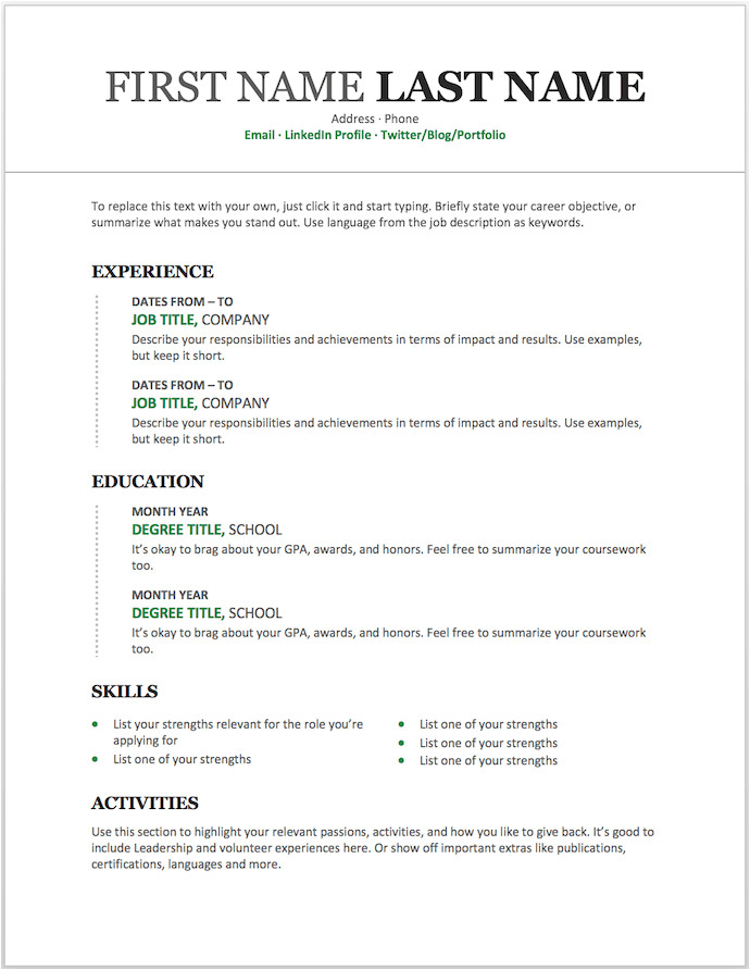 Free Download Resume format Word 25 Free Resume Templates for Microsoft Word How to Make