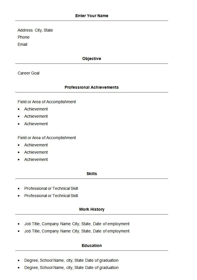 Free Download Simple Resume format In Word Basic Resume Template 51 Free Samples Examples format