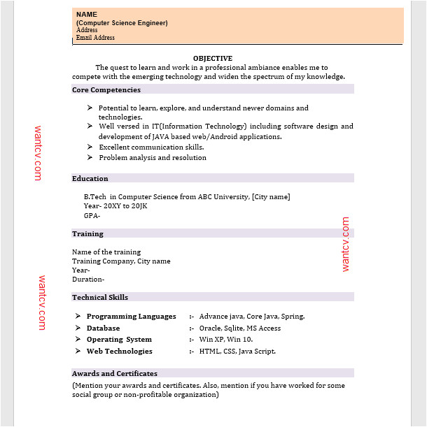 top 10 fresher resume format in ms word free download