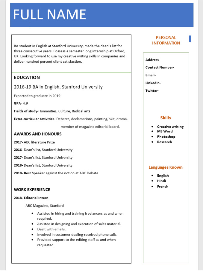 Free Fresher Resume format Download In Ms Word top 10 Fresher Resume format In Ms Word Free Download